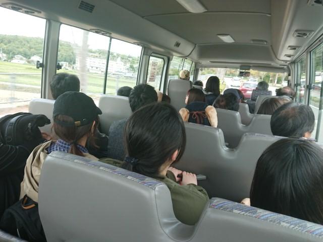 しい茸園有馬富士の送迎バス車内