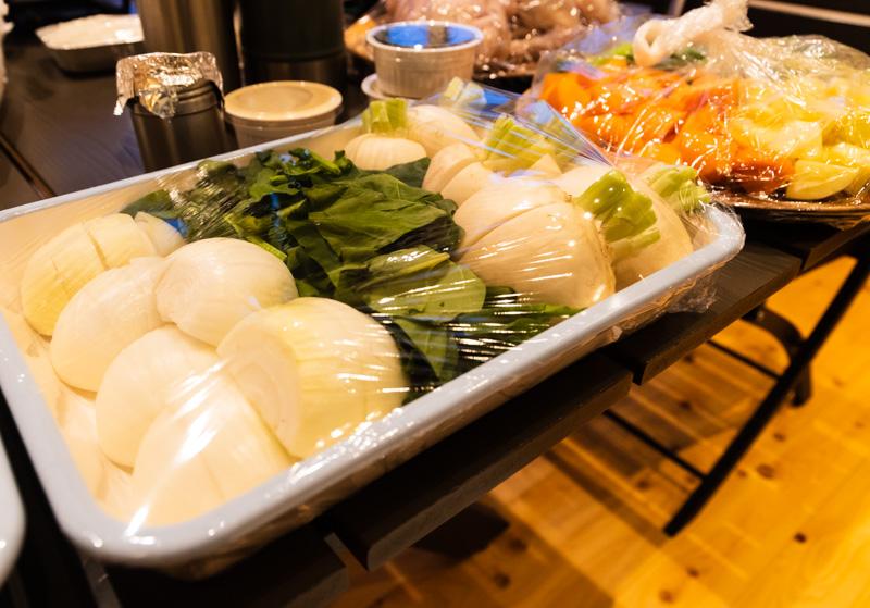 るり渓温泉のGRAX-HANAREの夕食の野菜