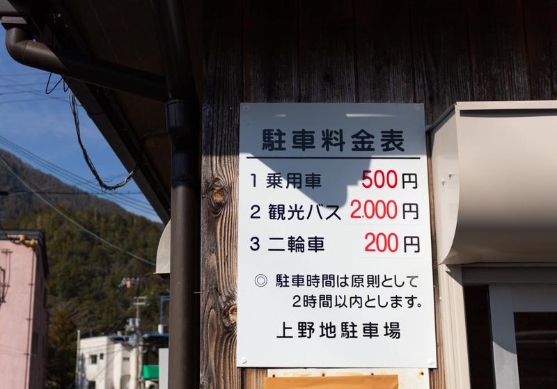谷瀬の吊り橋の駐車場料金表