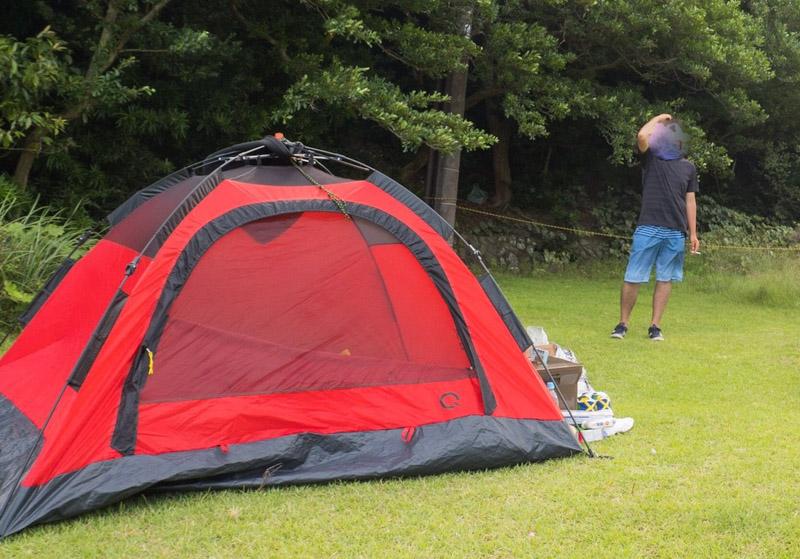友ヶ島でテント設営