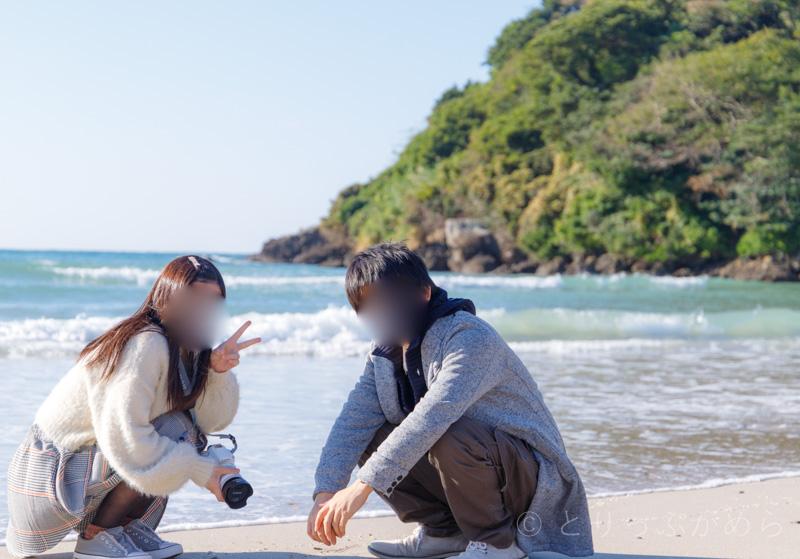 根獅子の浜で記念撮影