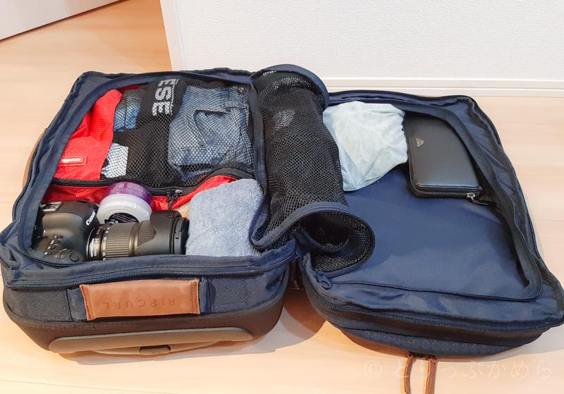 リップカールのキャリーバッグに収納してみた