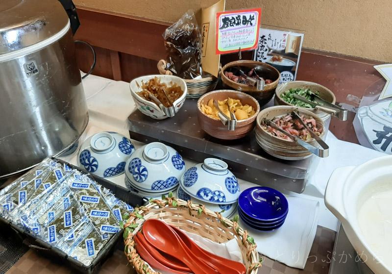 アジール奈良の朝食のご飯のお供