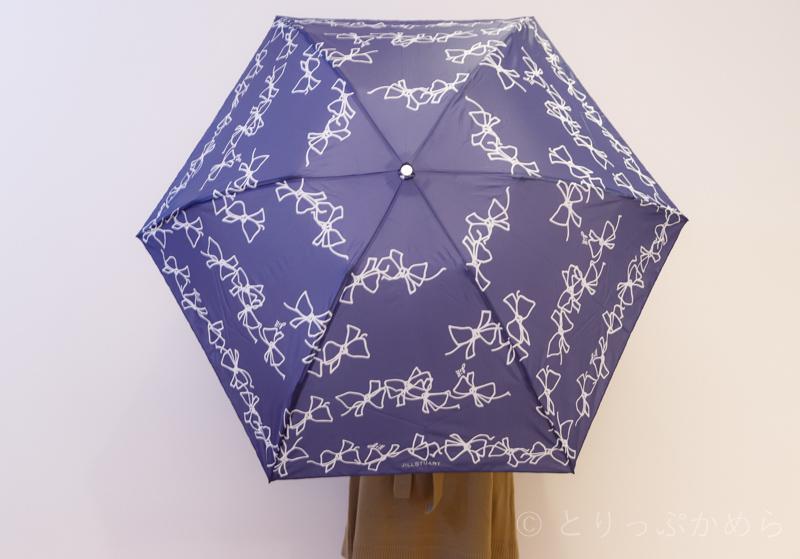 ジルスチュアートの折りたたみ傘のリボン柄