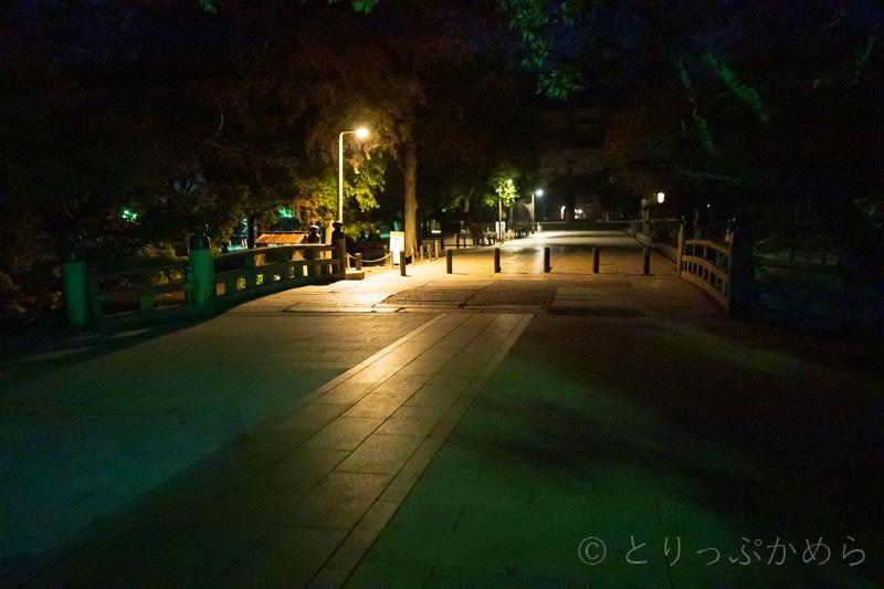夜の東大寺南大門参道には鹿がいない