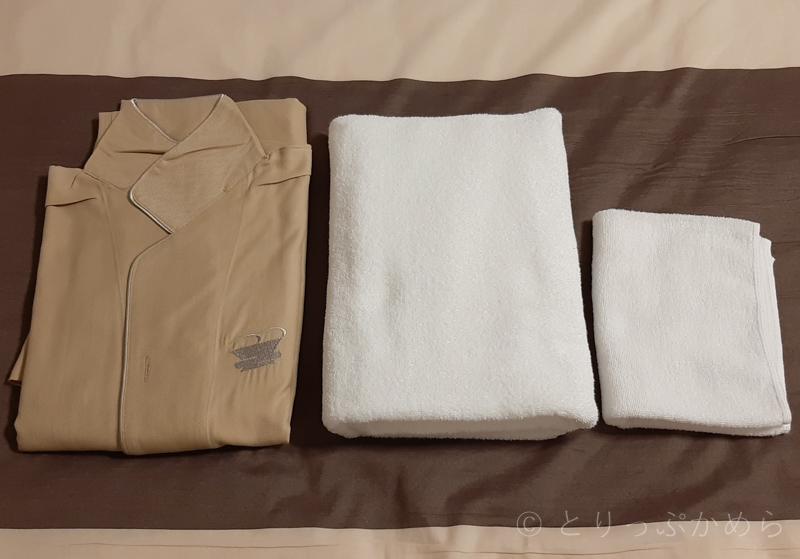 変なホテルラグーナテンボスの寝衣とタオル