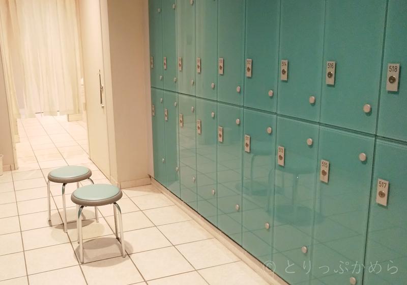 タラソプールの更衣室のロッカー